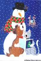 Christmas Snowman, Dog and Cat by Barbara Gibson