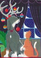 Whimsical Christmas Dog and Cat by Barbara Gibson