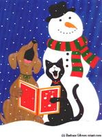 Snowman with Dog and Cat by Barbara Gibson