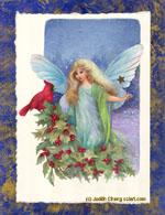Cardinal with Fairy by Judith Cheng