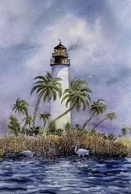Light at Key West, lighthouse, palm trees