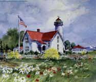 West Choplight, Martha's Vinyard, Lighthouse, Flag