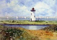 Light house, sail boats