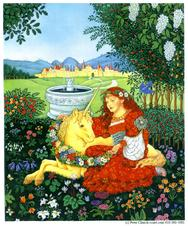 Maiden with Unicorn in field of flowers