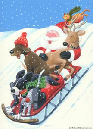 Whimsical sledding by Barbara Gibson
