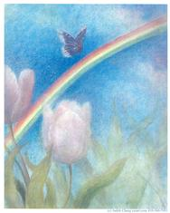 Soft rainbow with butterfly and tulips