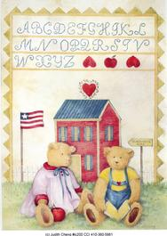 teddy bears, school, alphabet, flag