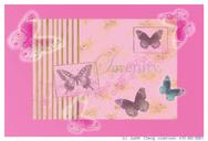 Serenity pattern with butterflies on pink