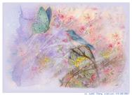 Soft butterfly with bluebird on lilac