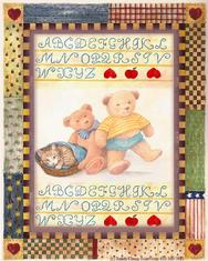 ABC Sampler with teddybears, kitten, country border
