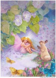 fairy with bunny and butterflies and floral fantasy
