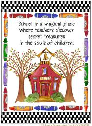 teacher, crayons, school house, trees