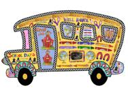 School Bus, globes, crayons, pencils, scissors