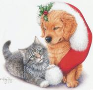 Christmas Cat and Dog by Kathy Goff
