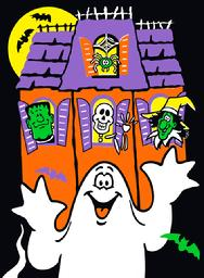 Haunted House, ghost, skeleton, spider, witch