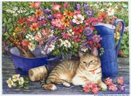 Cat, Floral, Watering Can