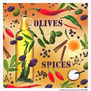 olives, spices, olive oil, herbs on orange