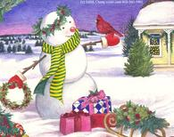 Snowman with presents by Judith Cheng
