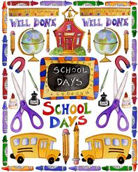 school days, crayons, busses, pencils, scissors, globes