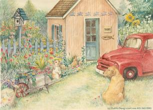 Garden shed with bunny, red truck, dog, wheelbarrow