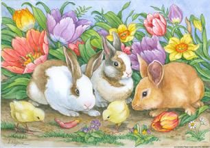 Easter Bunnies, chicks, tulips, flowers