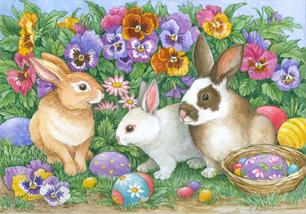 Easter Bunnies, Easter Eggs, Pansies