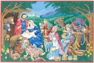 Nativity with thre three wise men, camels and more
