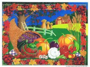 Cornucopia with pumpkins, corn, squash, apples, leaves, grapes and more
