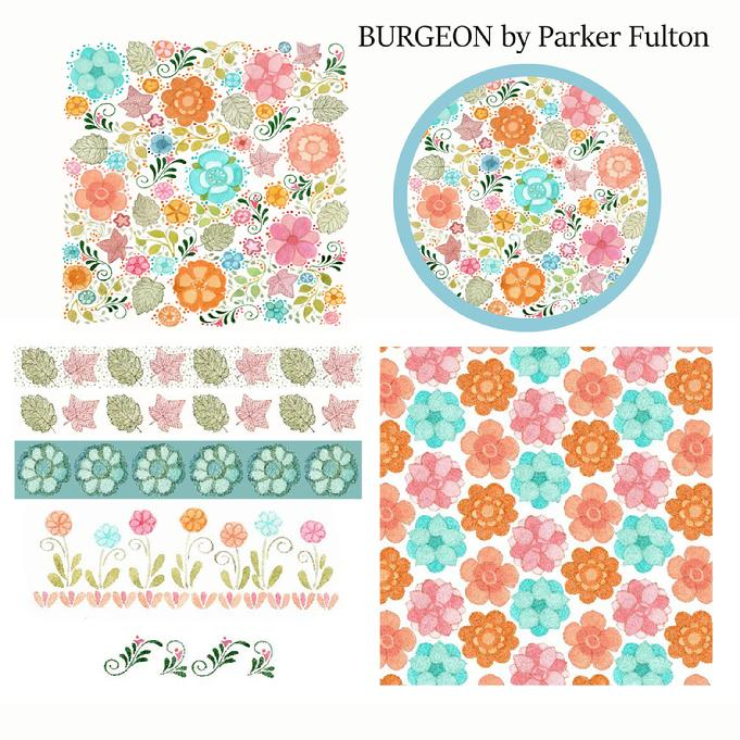 Blue and peach, floral, pattern, collection, art, design